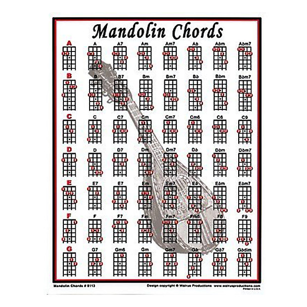 Walrus Productions Mini Laminated Mandolin Chord Chart  Reverb