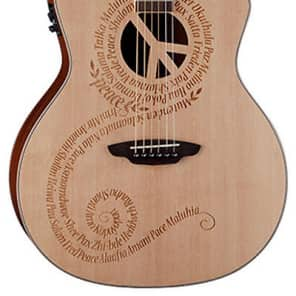 Luna Oracle Grand Concert Series - Peace Sign Laser Art 6 String Acoustic Guitar for sale