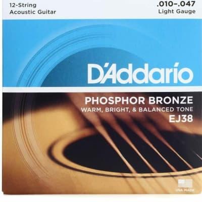 D'Addario EJ38  Phosphor Bronze 12-String Acoustic Strings (Light)