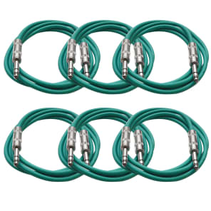 """Seismic Audio SATRX-6GREEN6 1/4"""" TRS Patch Cables - 6' (6-Pack)"""
