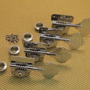 007-6568-049 Set of 4 Fender Chrome Logo Cloverleaf 70s Logo Bass Tuners 0076568049