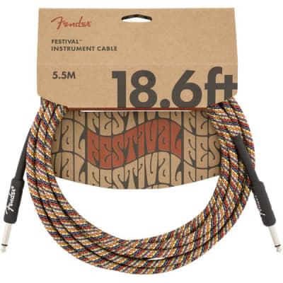 Fender Festival Instrument Cable, 5.7M/18.6FT, Pure Hemp, Rainbow for sale