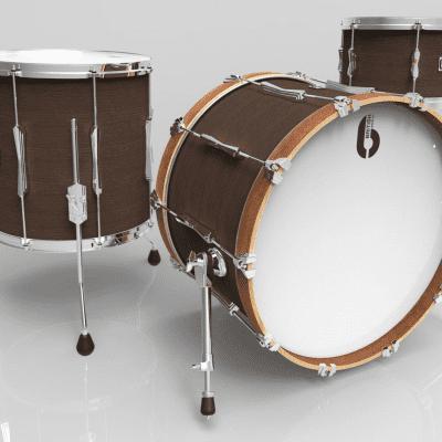 "British Drum Company Lounge Series Club 22 12x8 / 16x16 / 22x14"" 3pc Mahogany / Birch Shell Pack"