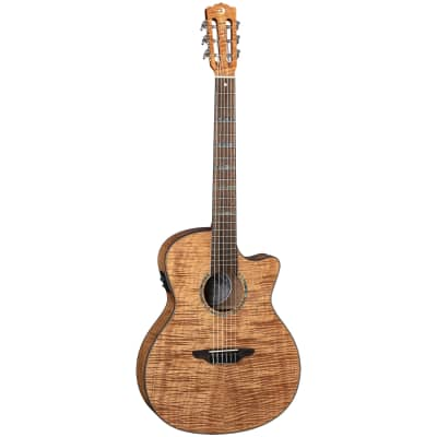 Luna HT EXM NYL High Tide Exotic Mahogany Top Nylon Acoustic Electric Guitar for sale