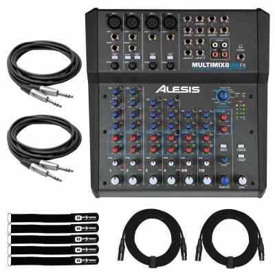 Alesis MultiMix 8 USB FX 8-Channel USB Desktop Podcast Live Stream Mixer w Cable