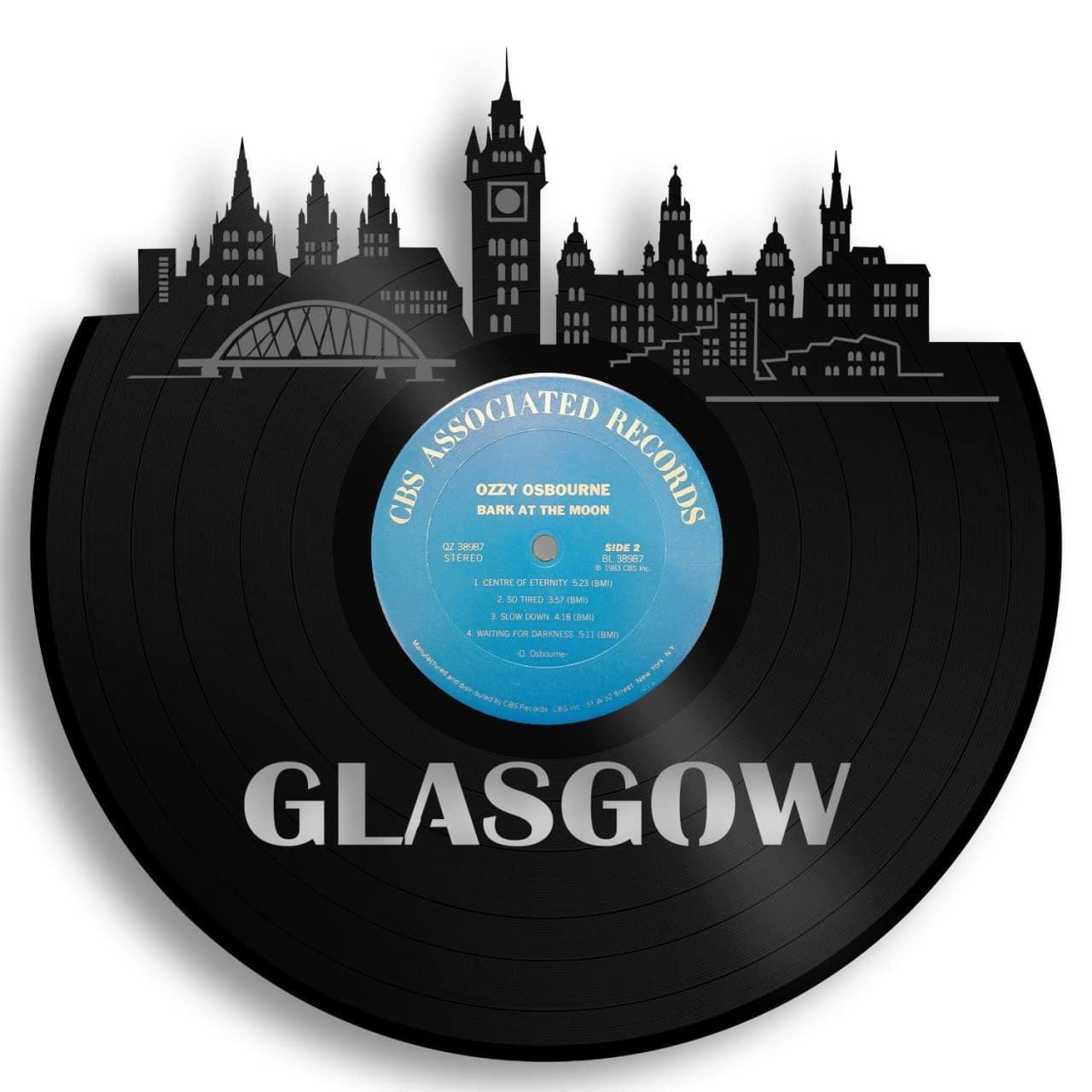 Glasgow Skyline Vinyl Wall Art Beige Framed Vinylshopus Reverb