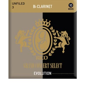 Rico RGE10BCL300 Grand Concert Select Evolution Bb Clarinet Reeds - Strength 3.0 (10-Pack)
