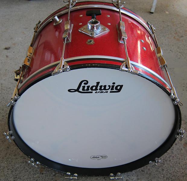 ludwig vintage club date bass drum 1965 red sparkle reverb. Black Bedroom Furniture Sets. Home Design Ideas
