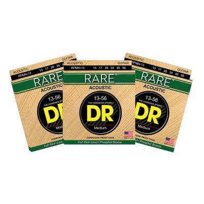 3 Sets DR Strings RARE RPMH Medium Heavy 13-56 Phosphor Bronze Acoustic Strings