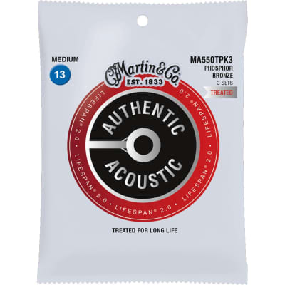 Martin Strings MA550TPK3 Lifespan 2.0 Phosphor Bronze 3-Pack for sale