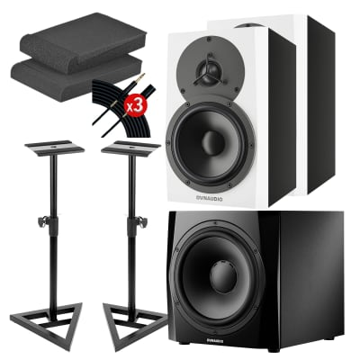 Dynaudio LYD 5 5″ Powered Studio Monitor White (Pair) - Monitor Stands - Foam Pads - (3) Mogami Cable - Dynaudio Core Sub Quad 9″ Powered Studio Subwoofer