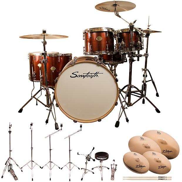 Sawtooth Command Series 6 Piece Drum Set With 24 Bass ChromaCast Hardware Zildjian S Family Cymbals Red Streak