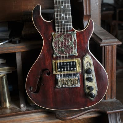 Postal Handmade Red Traveler - Travel guitar with Amp and Speaker Built in or play through your Amp for sale