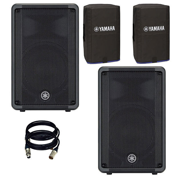 Yamaha DBR10 700-Watt Powered Speaker  With Free Covers + 2 XLR to XLR  Cables 25FT EA