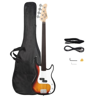 Glarry Fretless Electric Bass Guitar Full Size 4 String for experienced Bass Players Sunset