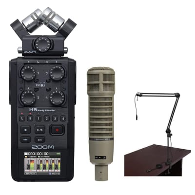 Zoom H6 All Black 6-Track / 6-Input Portable Recorder with Single Mic Capsule, Electro-Voice RE20 Mic & Broadcast Arm Bundle