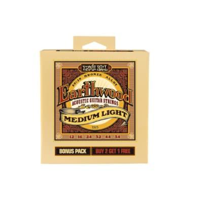 Ernie Ball P03503 Earthwood Medium Light 12-54  Bonus Pack  2+1