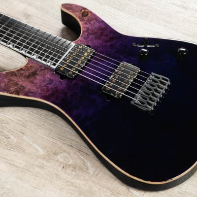 ESP E-II M-II 7 NT Guitar, Buckeye Burl Maple Top, Ebony, Purple Natural Fade