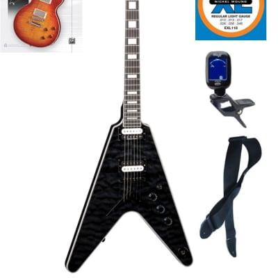 Dean V Select Quilt Top Electric Guitar, Trans Black, V SEL QM TBK, Book Bundle