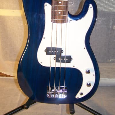 """Unbranded """"P"""" Bass Style Guitar, 2000s, Transparent Blue Finish"""