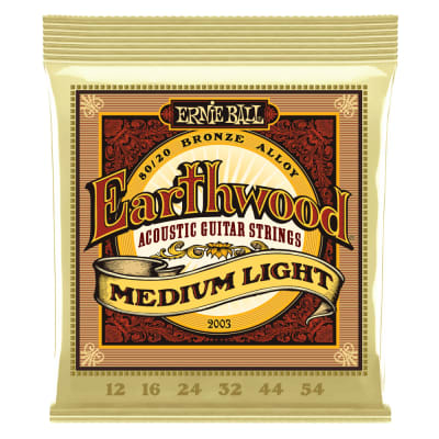Ernie Ball 2003 Earthwood Medium Light 80/20 Bronze Acoustic Guitar Strings - 12-54 Gauge