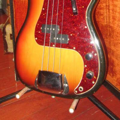 Vintage 1969 Fender Precision Bass P-Bass Sunburst w/ Original Case 1 Owner for sale