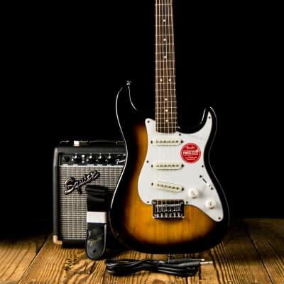 Squier Stratocaster Starter Pack with Indian Laurel Fretboard and Frontman 10G Combo Amp Brown Sunburst 2018