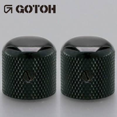NEW (2) Gotoh Control Knob Metal DOME Bass/Guitar for 1/4 inch USA pots - BLACK