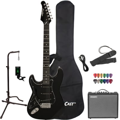 Sawtooth Left-Handed ES Series Electric Guitar with Gig Bag, 10 Watt Amp & Accessories, Black with Chrome Pickguard for sale