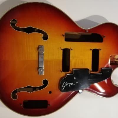 Goya Rangemaster bass 1960s hollowbody Sunburst real vintage project body for sale