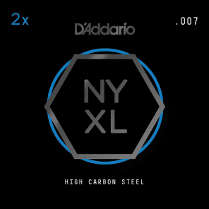 D'Addario NYXL 2-Pack Plain Steel Guitar Strings .007