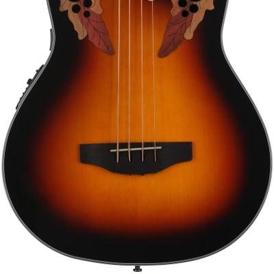 Ovation Celebrity Elite Plus CEB44-1N Mid-Depth Acoustic-electric Bass Guitar - New England Burst for sale