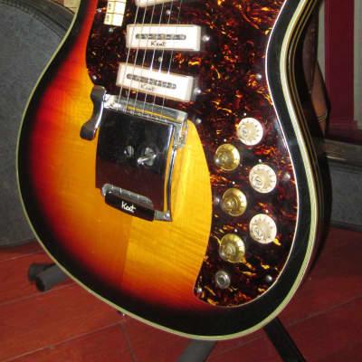 Vintage 1960's Kent Model 741 Triple Pickup Semi-Hollow Electric Guitar w/ Original Case for sale