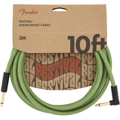 Fender Festival Instrument Cable, Angled/Straight, 3M/10FT, Pure Hemp, Green for sale