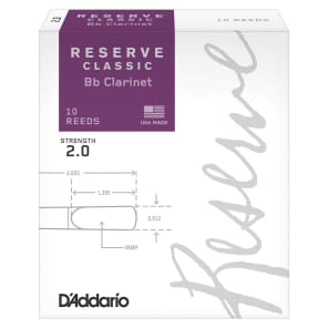 Rico DCT1020 Reserve Classic Bb Clarinet Reeds - Strength 2.0 (10-Pack)