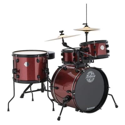 Ludwig LC178X Questlove Pocket Kit Drum Set, 4-Piece, Red Wine Sparkle