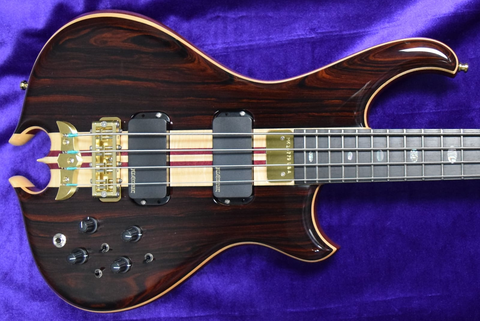 Alembic Mark King Deluxe 4, Cocobolo with Ebony and Blue/Red LED's