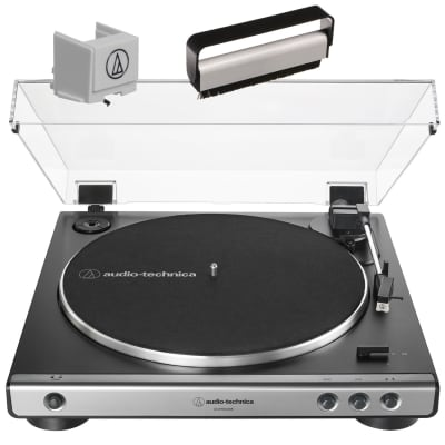 Audio Technica AT-LP60XUSB Fully Automatic B-Drive Stereo Turntable  Gun Metal W/Stylus  & Brush