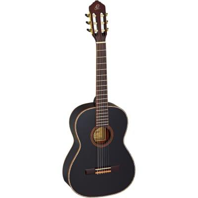 Ortega R221BK-7/8 classical guitar, black, with gig bag for sale