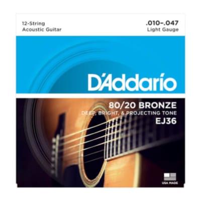 D'Addario EJ36 80/20 Bronze 12-String Set 10-47