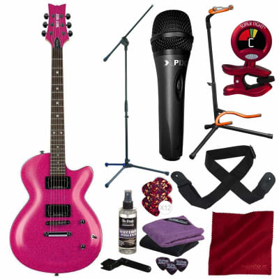 Daisy Rock 6 String Solid-Body Electric Guitar (DR6751-U) with Xpix Vocal Condenser Microphone, Clip-On Chromatic Tuner, Mic & Guitar Stand Deluxe Bundle