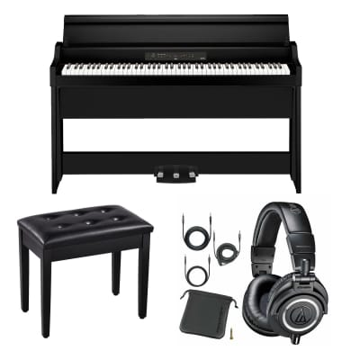 Korg G1 Air Digital Piano with Bluetooth (Black), SONGMICS Piano Bench, AT ATH-M50X Bundle