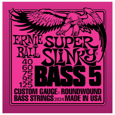 Ernie Ball 2824 (40-125) 5-String Super Slinky Bass Strings