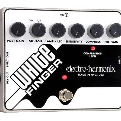 Electro-Harmonix WHITE FINGER Analog Optical Compressor, 40DC-100 PSU included