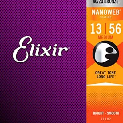 Elixir Strings 11102 Acoustic Bronze w/Nanoweb Coating Medium