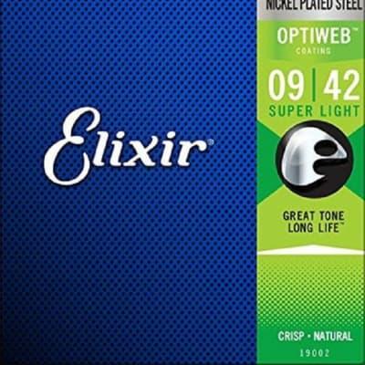 Elixir 19002 Optiweb Nickel Plated Steel Electric Guitar Strings - Super Light (9-42)