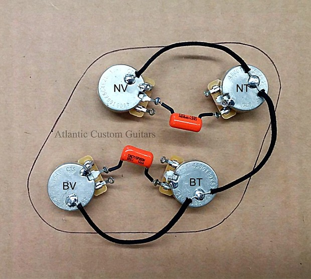 Upgraded 50s style Wiring Harness - Fits Les Paul , CTS 500k Long Shaft on