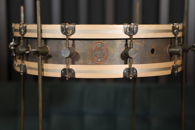 A&F Drum Co. Gunshot Raw Brass Snare Drum With Floor Tom Legs And Brackets - 4x18 image