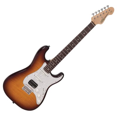 Vintage V6HH-FTB Reissued Series Custom Spec Hardtail Flamed Tobacco Burst