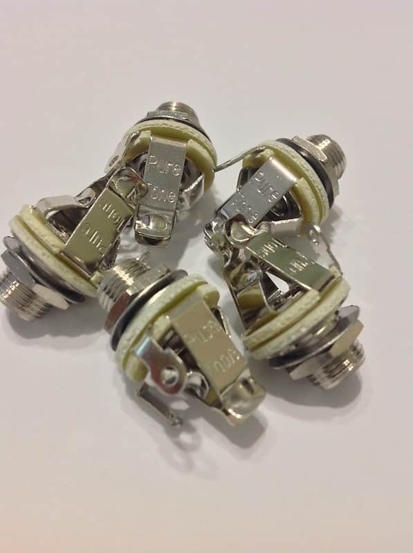 """5 Pack Pure Tone Multi Contact Mono 1/4"""" Output jacks, Nickel PTT1 w/ Mounting Hardware image"""